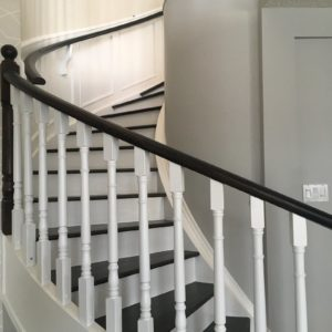 Dark Stained Oak Railing - White Painted Stair Risers 1