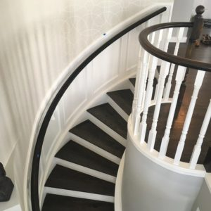 Dark Stained Oak Railing - White Painted Stair Risers 2