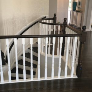 Dark Stained Oak Railing - White Spindles 2