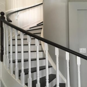 Dark Stained Oak Railing with White Painted Stair Risers