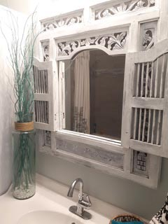 Faux Painted Antiqued Bathroom Mirror Frame