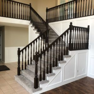 Light Oak Railing and Panelling Painted Black - After