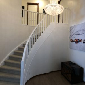 Oak Railing and Spindles Painted White