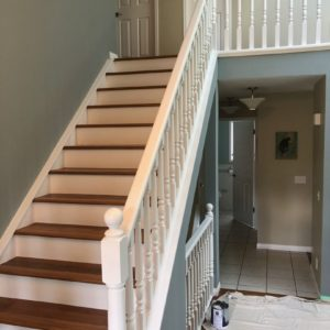 Oak Railing and Stair Risers Painted White