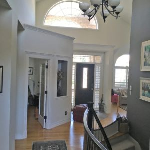 Complete Interior Painting of walls, doors, trim and dark stained bannister
