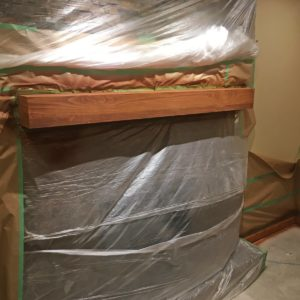 Stained Clear Coated Fireplace Mantel - During