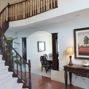 Staining Oak Wood Railing Banister - Evergreen Estates